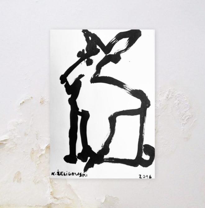 Oryginalny rysunek tuszem, motyw zwierzęcy, plakat zwierzęta do wnętrza