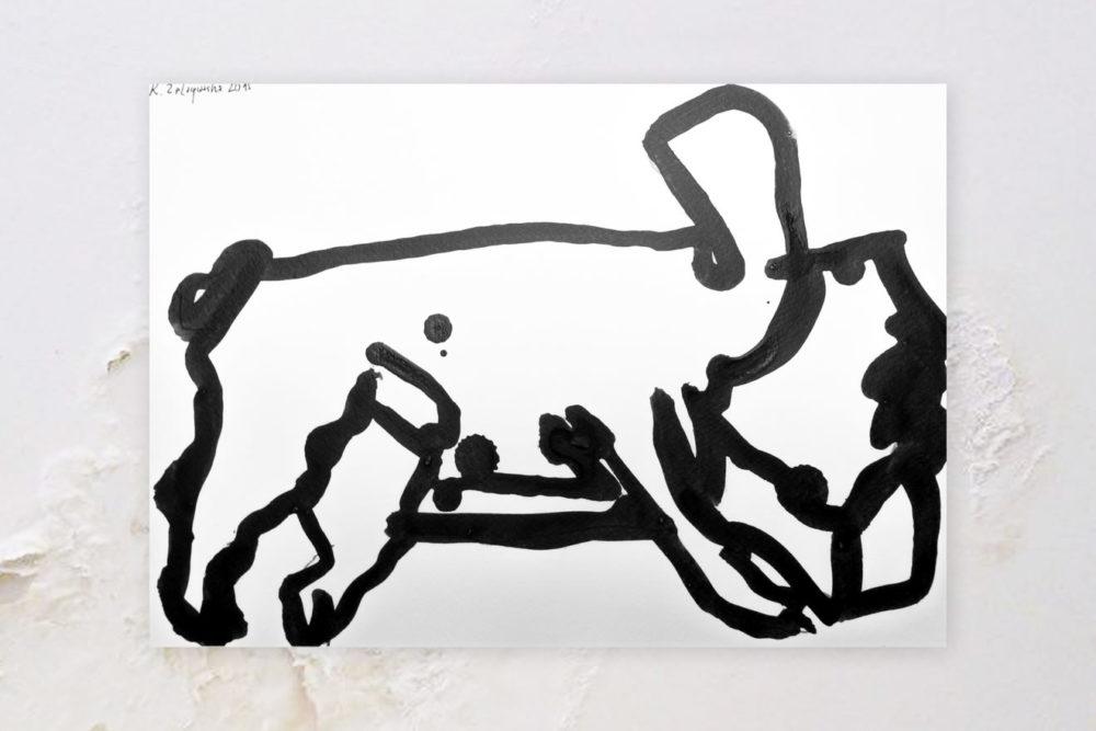 Buldog Wodson [01] - oryginalny, ręcznie wykonany plakat z buldogiem