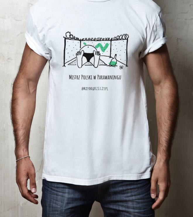 1 Mistrz Polski w Parawaningu - koszulka bawełna unisex biała
