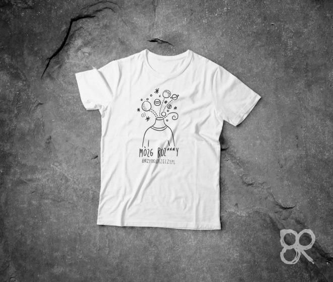MÓZG koszulka biała z nadrukiem