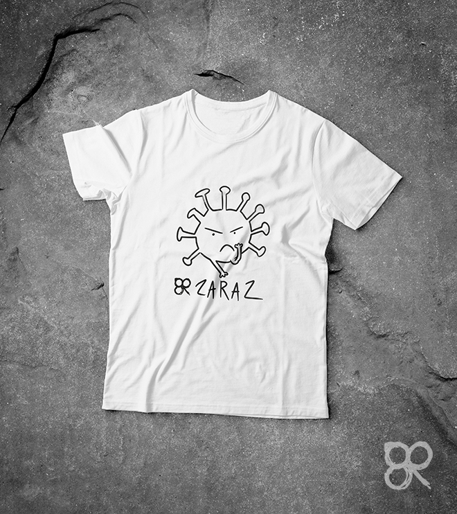 Koszulka ZARAZ z nadrukiem